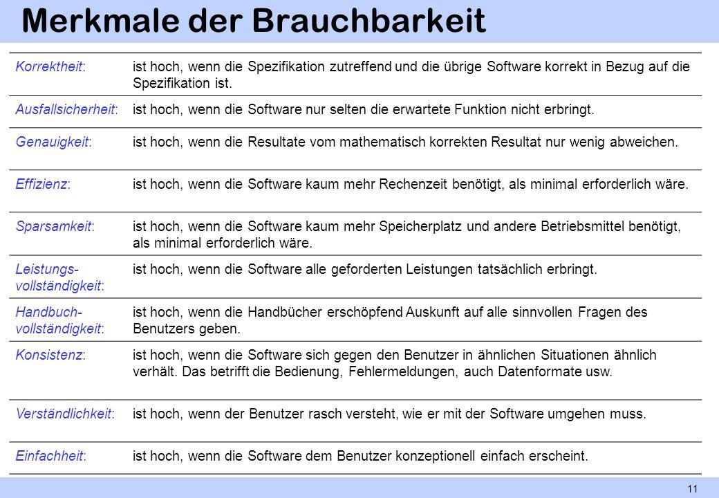 Merkmale der Brauchbarkeit 11 Korrektheit:ist hoch, wenn die Spezifikation zutreffend und die übrige Software korrekt in Bezug auf die Spezifikation i
