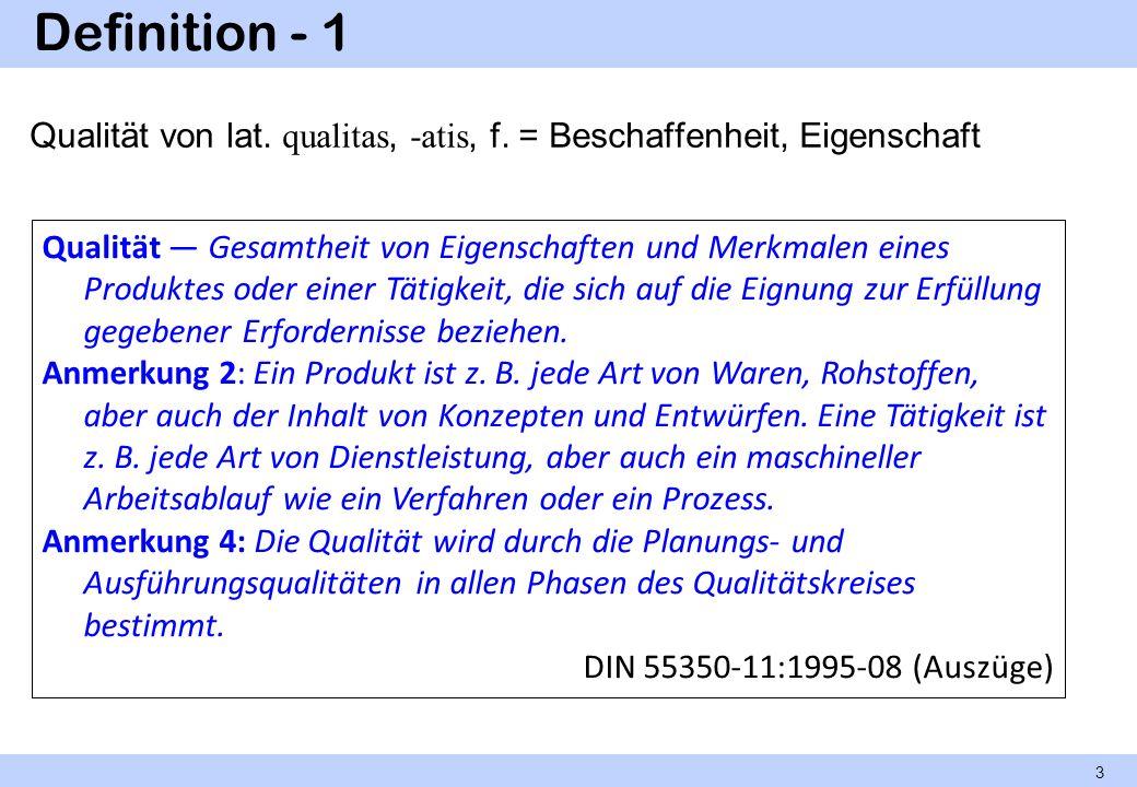 Definition - 1 Qualität von lat. qualitas, -atis, f. = Beschaffenheit, Eigenschaft Qualität Gesamtheit von Eigenschaften und Merkmalen eines Produktes