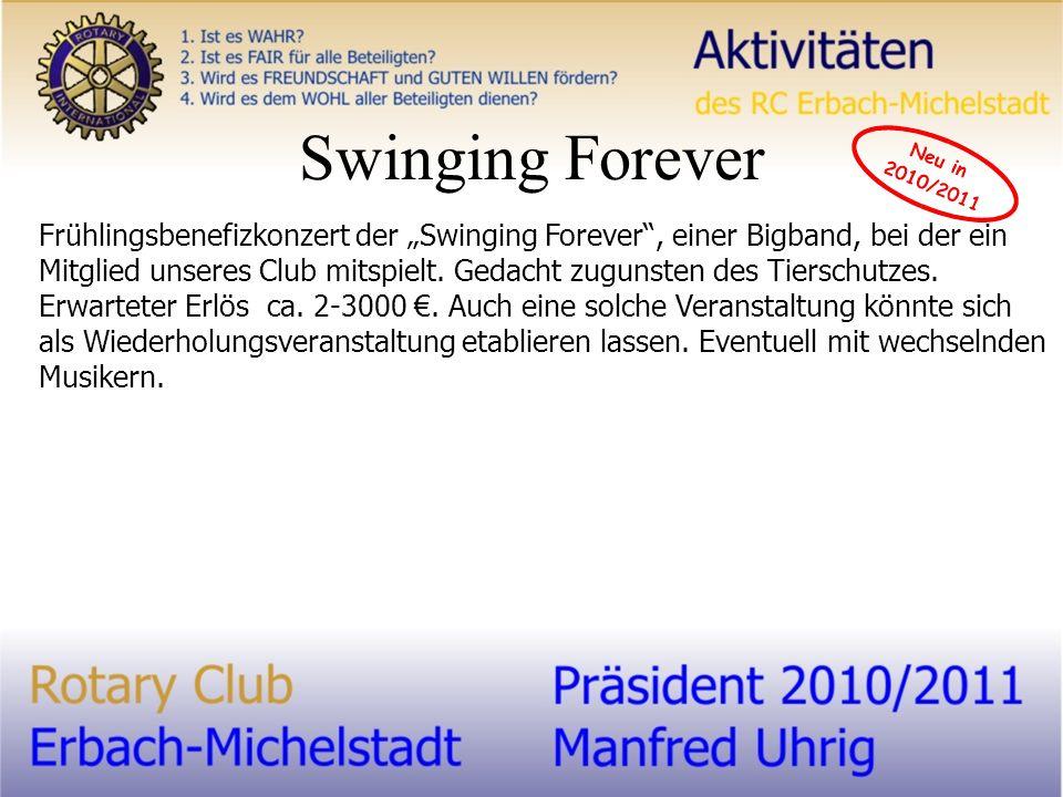 Swinging Forever Frühlingsbenefizkonzert der Swinging Forever, einer Bigband, bei der ein Mitglied unseres Club mitspielt.