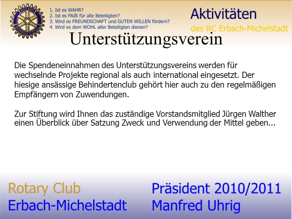 Unterstützungsverein Die Spendeneinnahmen des Unterstützungsvereins werden für wechselnde Projekte regional als auch international eingesetzt.