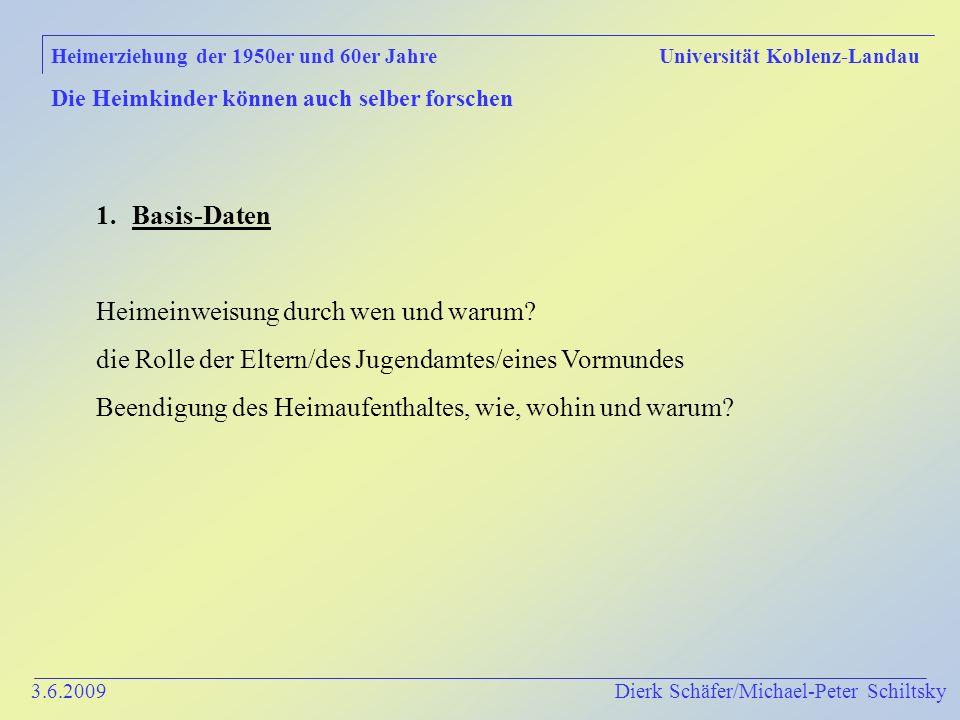 3.6.2009 Dierk Schäfer/Michael-Peter Schiltsky Heimerziehung der 1950er und 60er Jahre Universität Koblenz-Landau Die Heimkinder können auch selber forschen 1.Basis-Daten Heimeinweisung durch wen und warum.