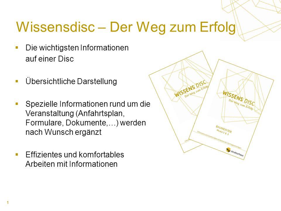 1 Wissensdisc – Der Weg zum Erfolg Die wichtigsten Informationen auf einer Disc Übersichtliche Darstellung Spezielle Informationen rund um die Veranst