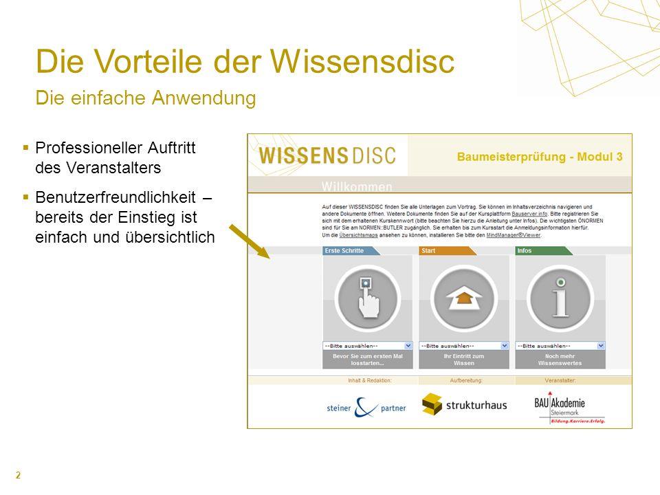 3 Die Vorteile der Wissensdisc Der variable Inhalt Alle für die Veranstaltung notwendigen Dokumente Spezifische Zusatzinformationen Internetlinks Anwendungsprogramme usw.