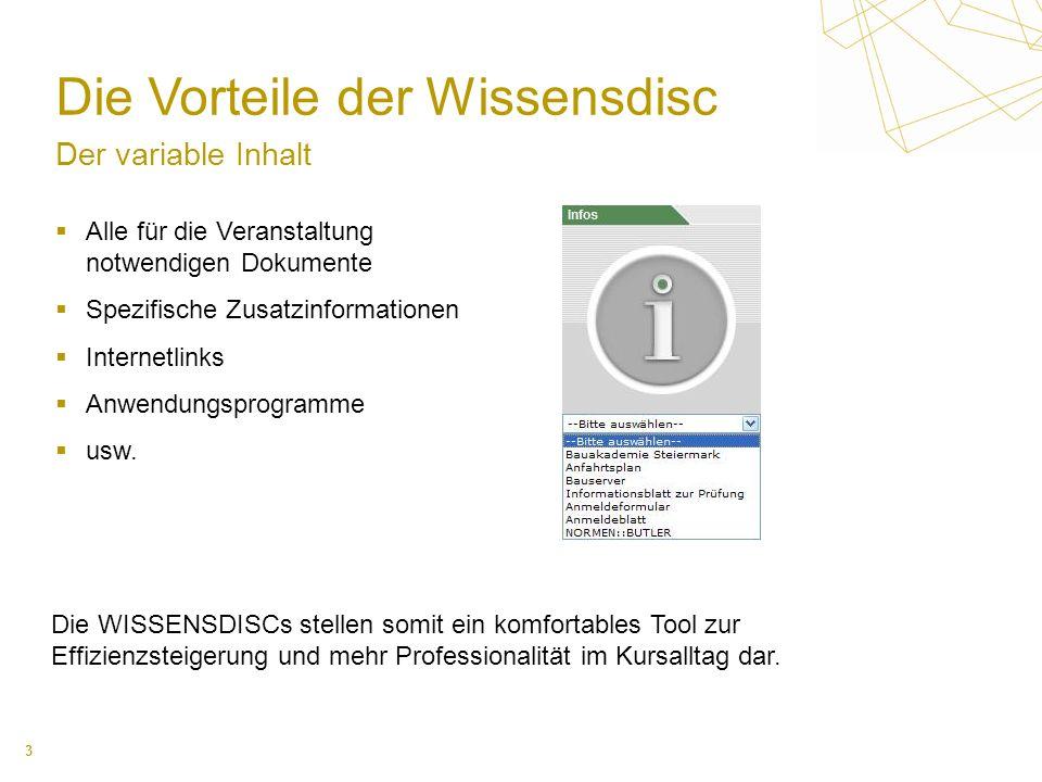 3 Die Vorteile der Wissensdisc Der variable Inhalt Alle für die Veranstaltung notwendigen Dokumente Spezifische Zusatzinformationen Internetlinks Anwe