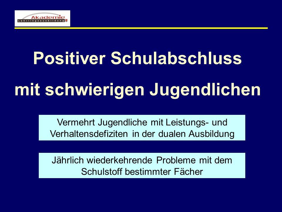 Positiver Schulabschluss mit schwierigen Jugendlichen Vermehrt Jugendliche mit Leistungs- und Verhaltensdefiziten in der dualen Ausbildung Jährlich wi