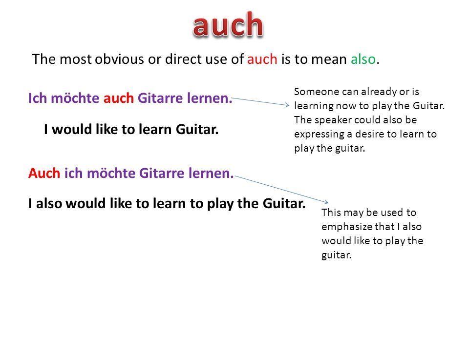 The most obvious or direct use of auch is to mean also.