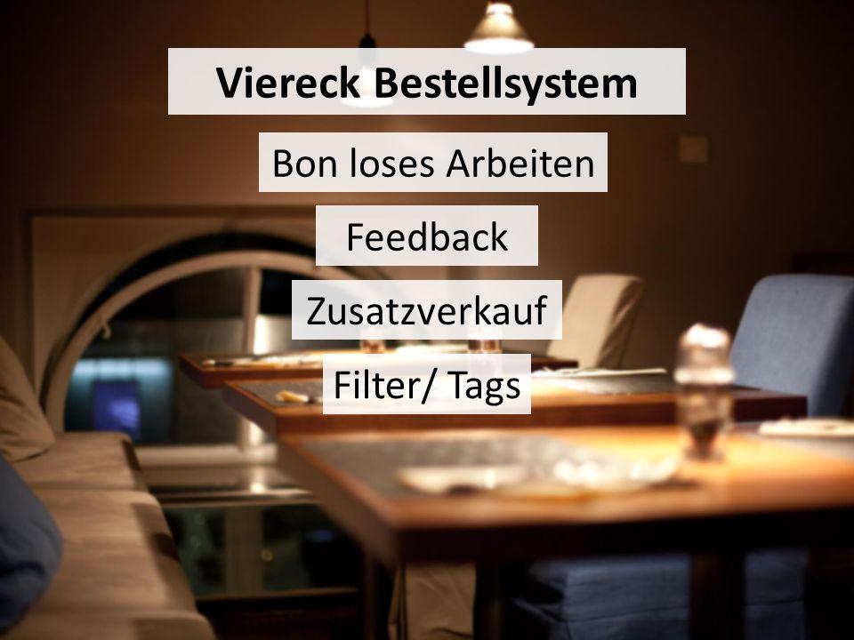 Bon loses Arbeiten Feedback Zusatzverkauf Viereck Bestellsystem Filter/ Tags
