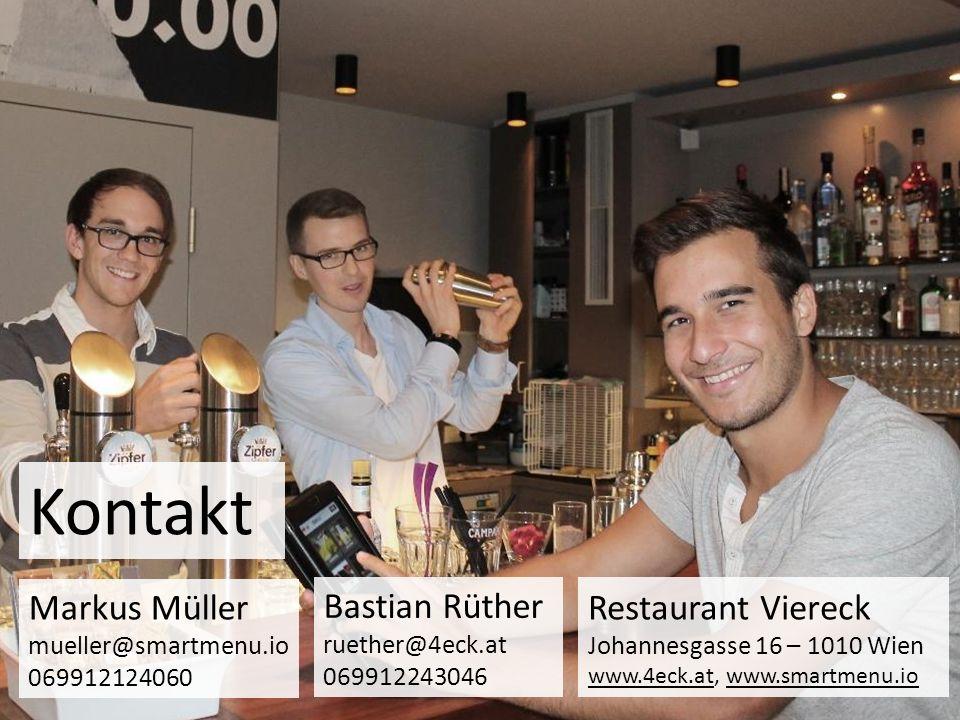 Kontakt Markus Müller mueller@smartmenu.io 069912124060 Bastian Rüther ruether@4eck.at 069912243046 Restaurant Viereck Johannesgasse 16 – 1010 Wien ww
