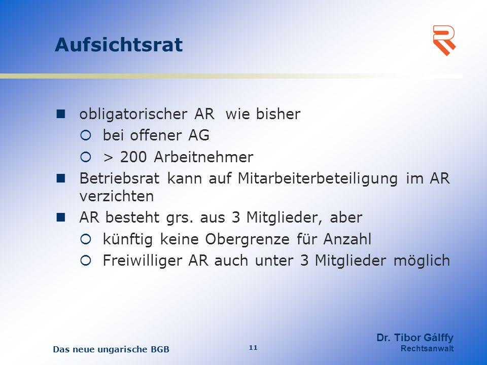 Aufsichtsrat obligatorischer AR wie bisher bei offener AG > 200 Arbeitnehmer Betriebsrat kann auf Mitarbeiterbeteiligung im AR verzichten AR besteht grs.