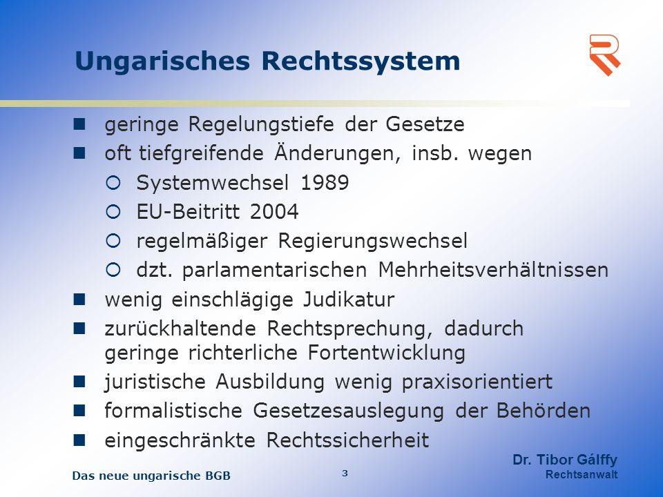 Ungarisches Unternehmensrecht kein spezielles Unternehmensgesetzbuch nun auch Abschaffung der Sonderregeln für wirtschaftenden Organisationen im BGB wenig Sonderbestimmungen für unternehmensbezogenen Geschäfte Gesellschaftsrecht wird in das BGB implementiert einheitliches Arbeitsgesetzbuch kein kodifiziertes Gewerberecht keine Konsumentenschutzorganisationen geringer Vertrauensschutz gesetzlicher Eingriff in bestehende Vertragsverhältnisse Das neue ungarische BGB 4 Dr.