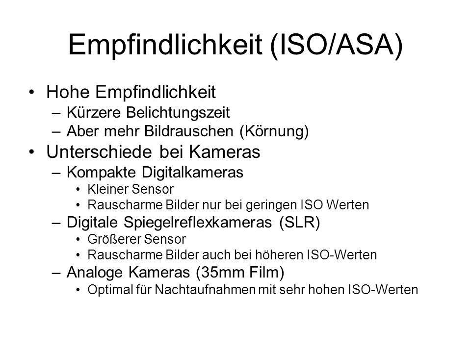 Empfindlichkeit (ISO/ASA) Hohe Empfindlichkeit –Kürzere Belichtungszeit –Aber mehr Bildrauschen (Körnung) Unterschiede bei Kameras –Kompakte Digitalka