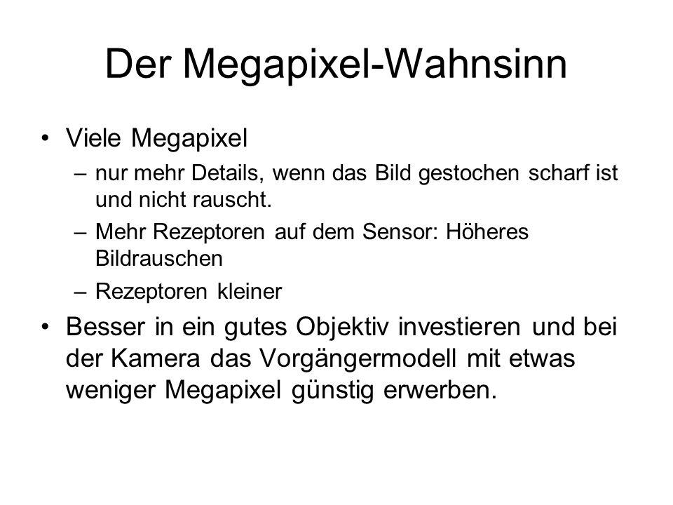 Der Megapixel-Wahnsinn Viele Megapixel –nur mehr Details, wenn das Bild gestochen scharf ist und nicht rauscht. –Mehr Rezeptoren auf dem Sensor: Höher