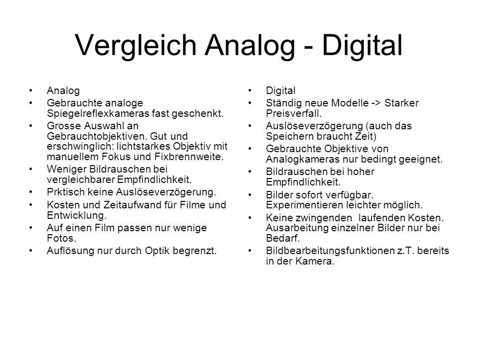 Vergleich Analog - Digital Analog Gebrauchte analoge Spiegelreflexkameras fast geschenkt. Grosse Auswahl an Gebrauchtobjektiven. Gut und erschwinglich