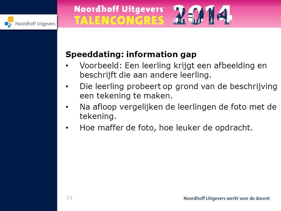 12 Speeddating: information gap Voorbeeld: Een leerling krijgt een afbeelding en beschrijft die aan andere leerling.