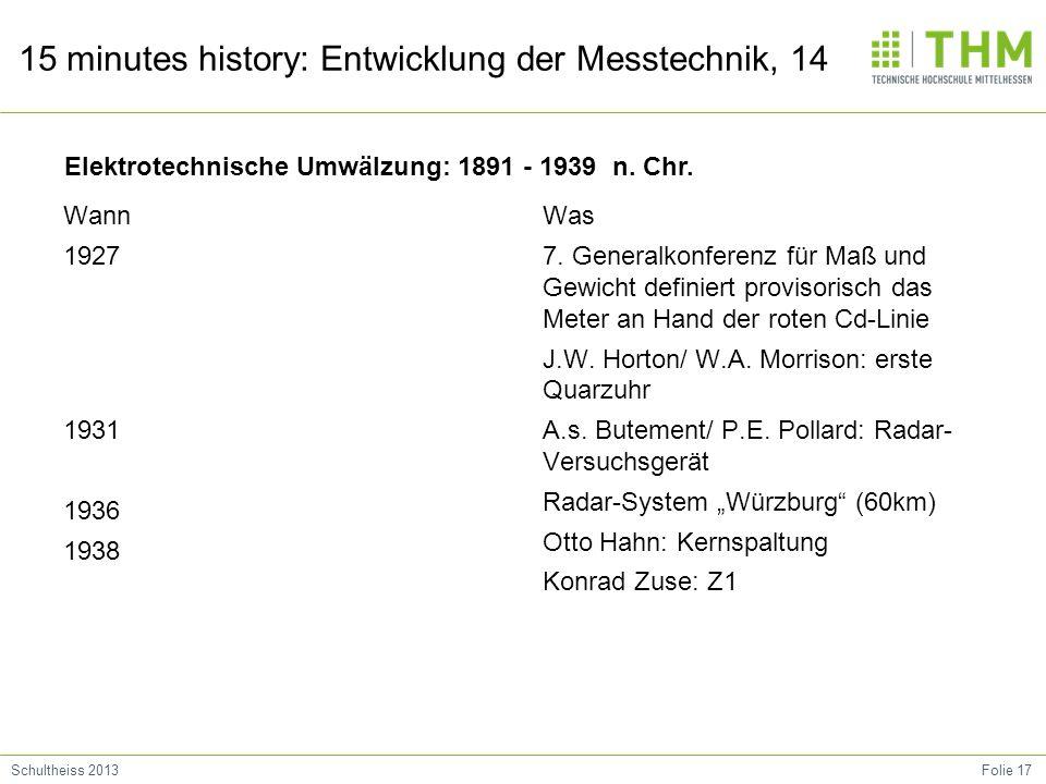 Folie 17Schultheiss 2013 15 minutes history: Entwicklung der Messtechnik, 14 Wann 1927 1931 1936 1938 Was 7.