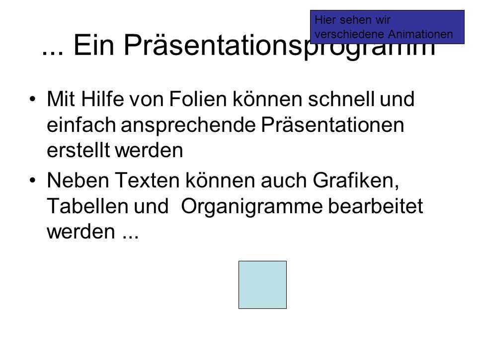 ... Ein Präsentationsprogramm Mit Hilfe von Folien können schnell und einfach ansprechende Präsentationen erstellt werden Neben Texten können auch Gra
