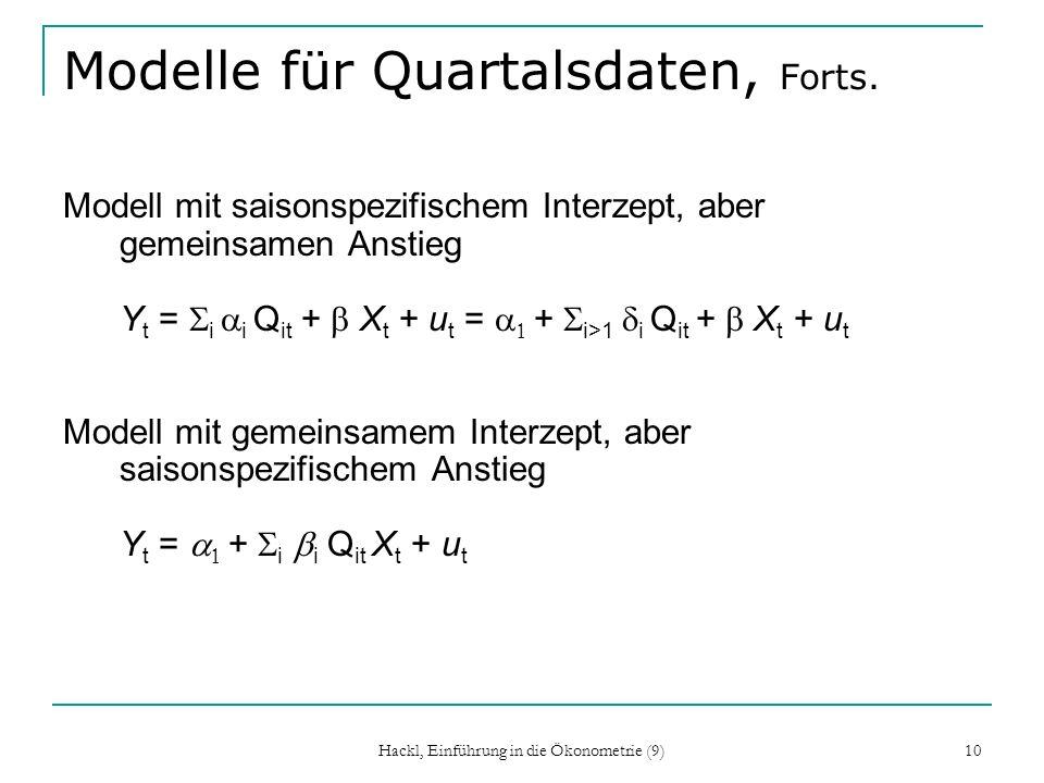 Hackl, Einführung in die Ökonometrie (9) 10 Modelle für Quartalsdaten, Forts. Modell mit saisonspezifischem Interzept, aber gemeinsamen Anstieg Y t =