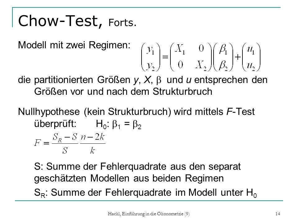 Hackl, Einführung in die Ökonometrie (9) 14 Chow-Test, Forts. Modell mit zwei Regimen: die partitionierten Größen y, X, und u entsprechen den Größen v