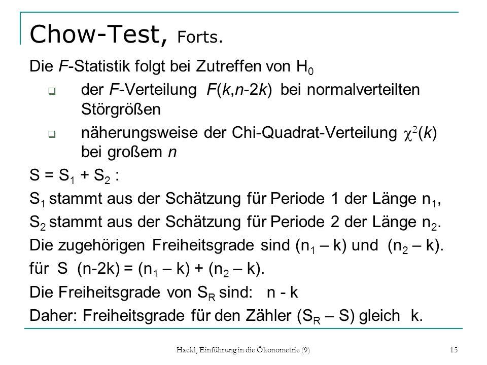 Hackl, Einführung in die Ökonometrie (9) 15 Chow-Test, Forts. Die F-Statistik folgt bei Zutreffen von H 0 der F-Verteilung F(k,n-2k) bei normalverteil