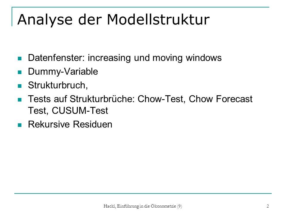 Hackl, Einführung in die Ökonometrie (9) 23 Weitere Tests zur Struktur- stabilität Tests auf Basis der rekursiven Residuen sind: CUSUM Test (cumulative sum) MOSUM Test (moving sum) CUSUM-SQ Test (cumulative sum of squares) CUSUM Test: s 2 ist die Residuenvarianz aus der Schätzung des Modells über die gesamte Periode.