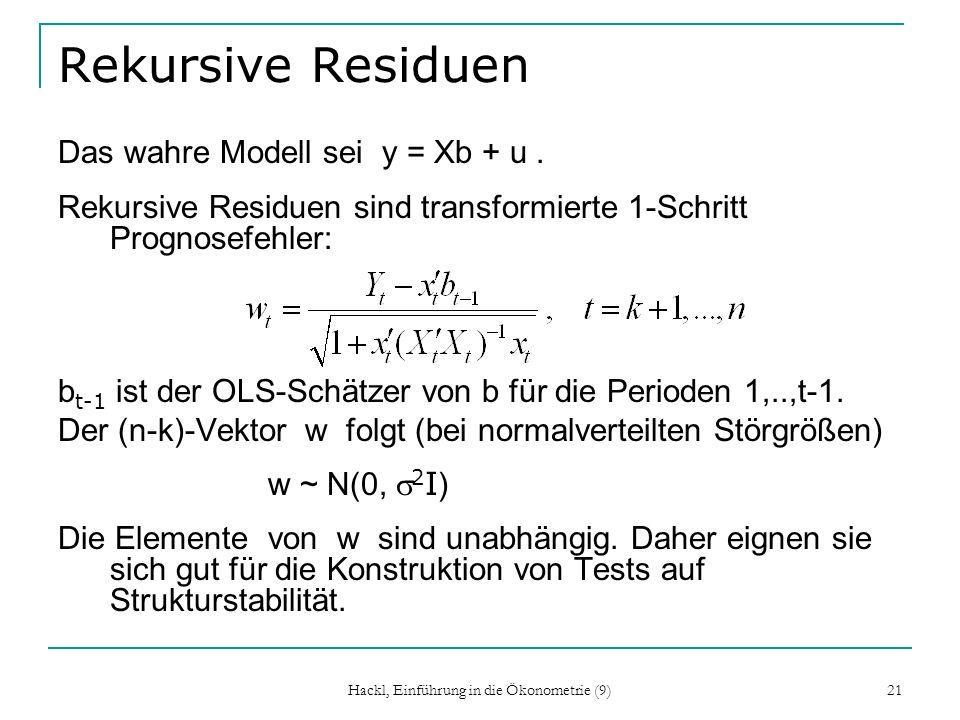 Hackl, Einführung in die Ökonometrie (9) 21 Rekursive Residuen Das wahre Modell sei y = Xb + u. Rekursive Residuen sind transformierte 1-Schritt Progn