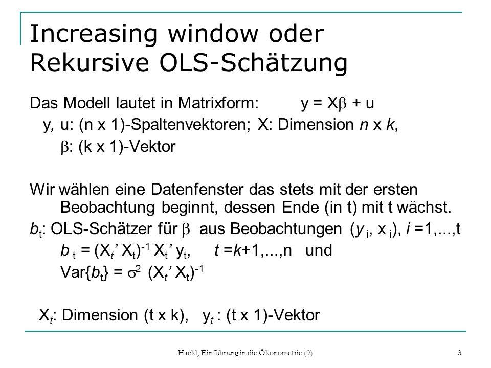 3 Increasing window oder Rekursive OLS-Schätzung Das Modell lautet in Matrixform: y = X + u y, u: (n x 1)-Spaltenvektoren; X: Dimension n x k, : (k x