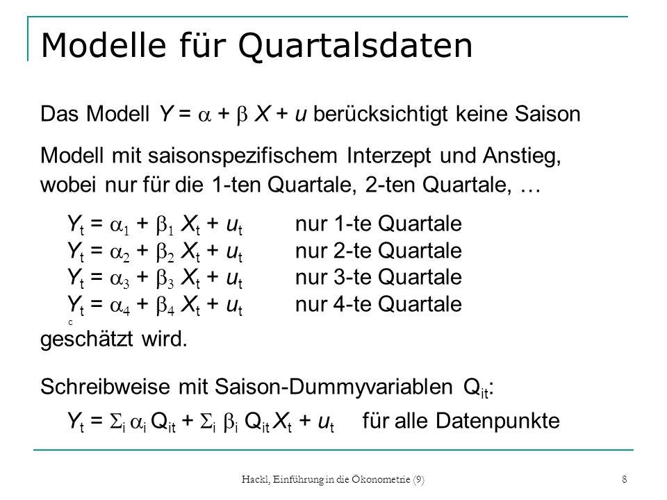 Hackl, Einführung in die Ökonometrie (9) 8 Modelle für Quartalsdaten Das Modell Y = + X + u berücksichtigt keine Saison Modell mit saisonspezifischem