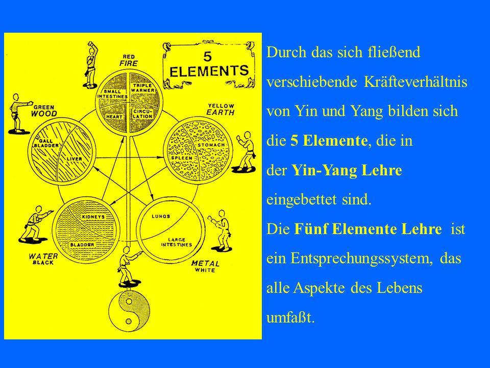 Durch das sich fließend verschiebende Kräfteverhältnis von Yin und Yang bilden sich die 5 Elemente, die in der Yin-Yang Lehre eingebettet sind. Die Fü