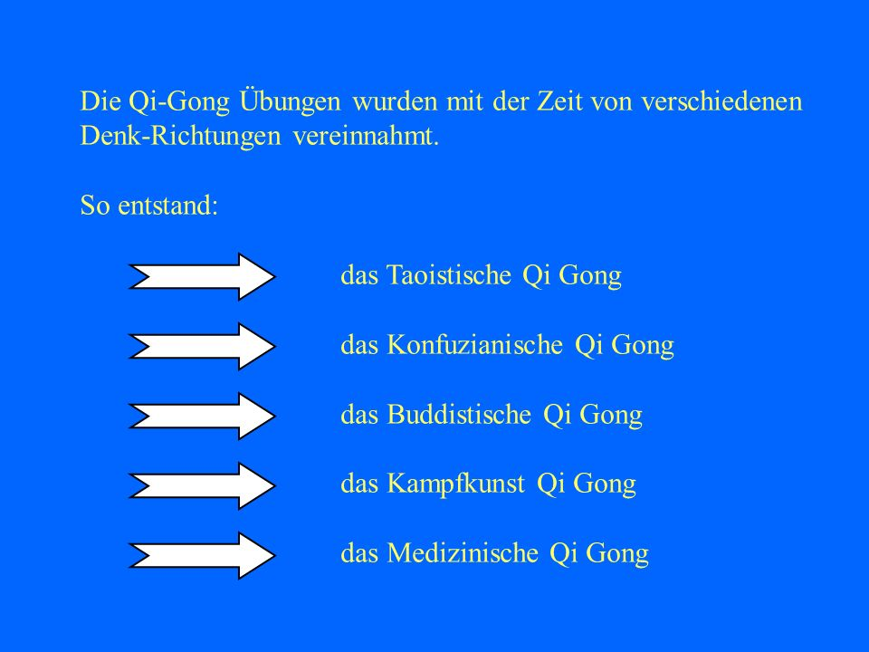 Folge davon war, dass Qi Gong Übungen stilspezifisch vermittelt wurden und besonders heute so vermittelt werden, ohne die Ideen der anderen Denkrichtungen mit zu lehren oder wenigstens zu berücksichtigen Alles entstammt einer Quelle, obwohl bis heute die Grenzen zwischen den Stilen gezogen werden.
