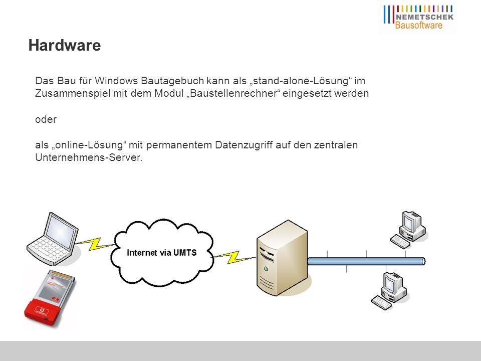 Das Bau für Windows Bautagebuch kann als stand-alone-Lösung im Zusammenspiel mit dem Modul Baustellenrechner eingesetzt werden oder als online-Lösung