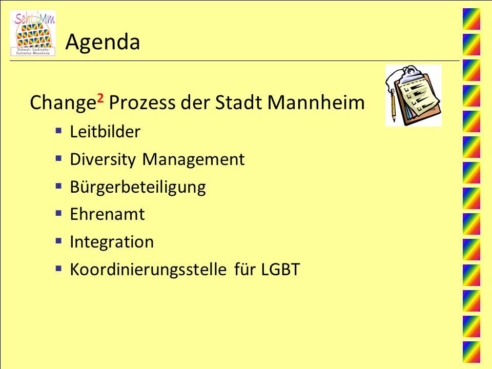 Agenda Change 2 Prozess der Stadt Mannheim Leitbilder Diversity Management Bürgerbeteiligung Ehrenamt Integration Koordinierungsstelle für LGBT