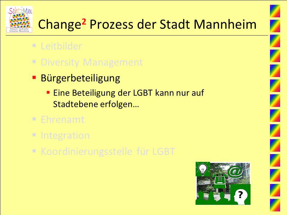Change 2 Prozess der Stadt Mannheim Leitbilder Diversity Management Bürgerbeteiligung Eine Beteiligung der LGBT kann nur auf Stadtebene erfolgen… Ehrenamt Integration Koordinierungsstelle für LGBT