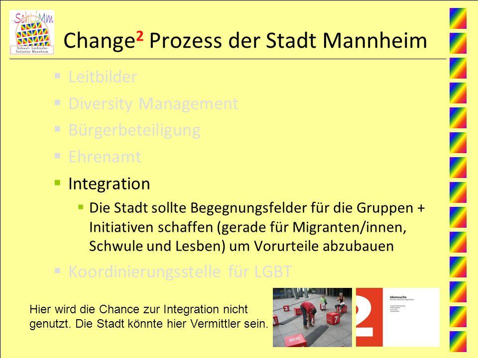 Change 2 Prozess der Stadt Mannheim Leitbilder Diversity Management Bürgerbeteiligung Ehrenamt Integration Die Stadt sollte Begegnungsfelder für die Gruppen + Initiativen schaffen (gerade für Migranten/innen, Schwule und Lesben) um Vorurteile abzubauen Koordinierungsstelle für LGBT Hier wird die Chance zur Integration nicht genutzt.