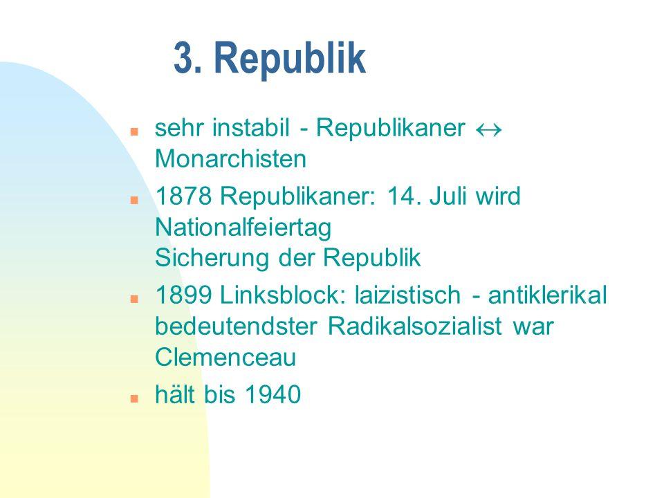 3.Republik n sehr instabil - Republikaner Monarchisten n 1878 Republikaner: 14.