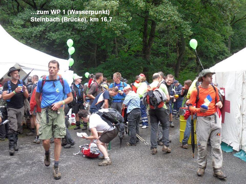 …zum WP 1 (Wasserpunkt) Steinbach (Brücke), km 16,7
