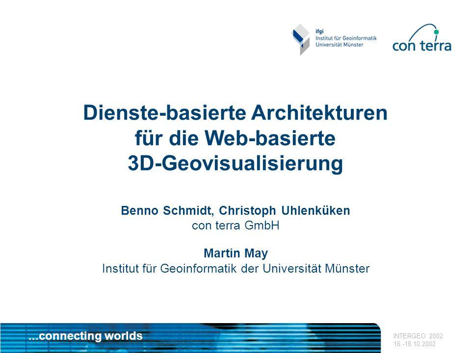 ...connecting worlds INTERGEO 2002 16.-18.10.2002 Dienste-basierte Architekturen für die Web-basierte 3D-Geovisualisierung Benno Schmidt, Christoph Uh