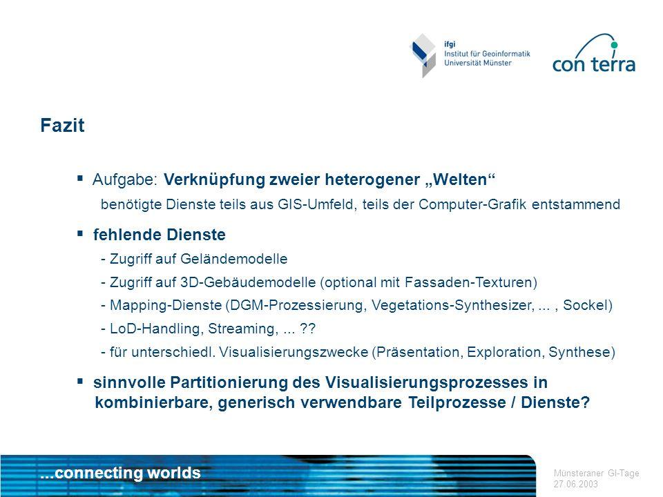 ...connecting worlds Münsteraner GI-Tage 27.06.2003 Fazit Aufgabe: Verknüpfung zweier heterogener Welten benötigte Dienste teils aus GIS-Umfeld, teils der Computer-Grafik entstammend fehlende Dienste - Zugriff auf Geländemodelle - Zugriff auf 3D-Gebäudemodelle (optional mit Fassaden-Texturen) - Mapping-Dienste (DGM-Prozessierung, Vegetations-Synthesizer,..., Sockel) - LoD-Handling, Streaming,...