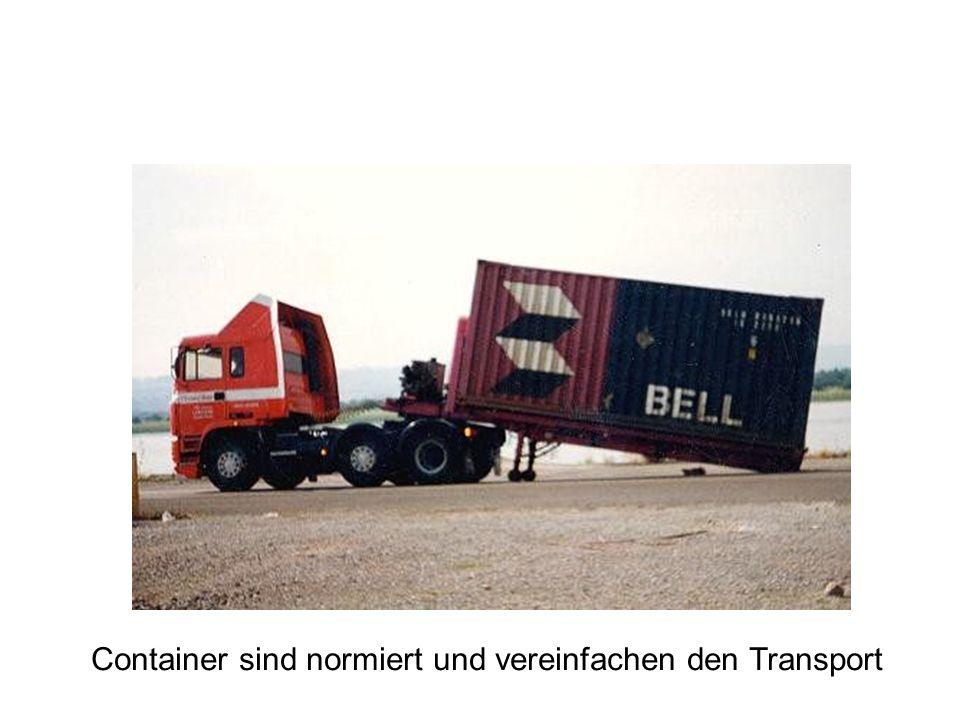 Container sind normiert und vereinfachen den Transport