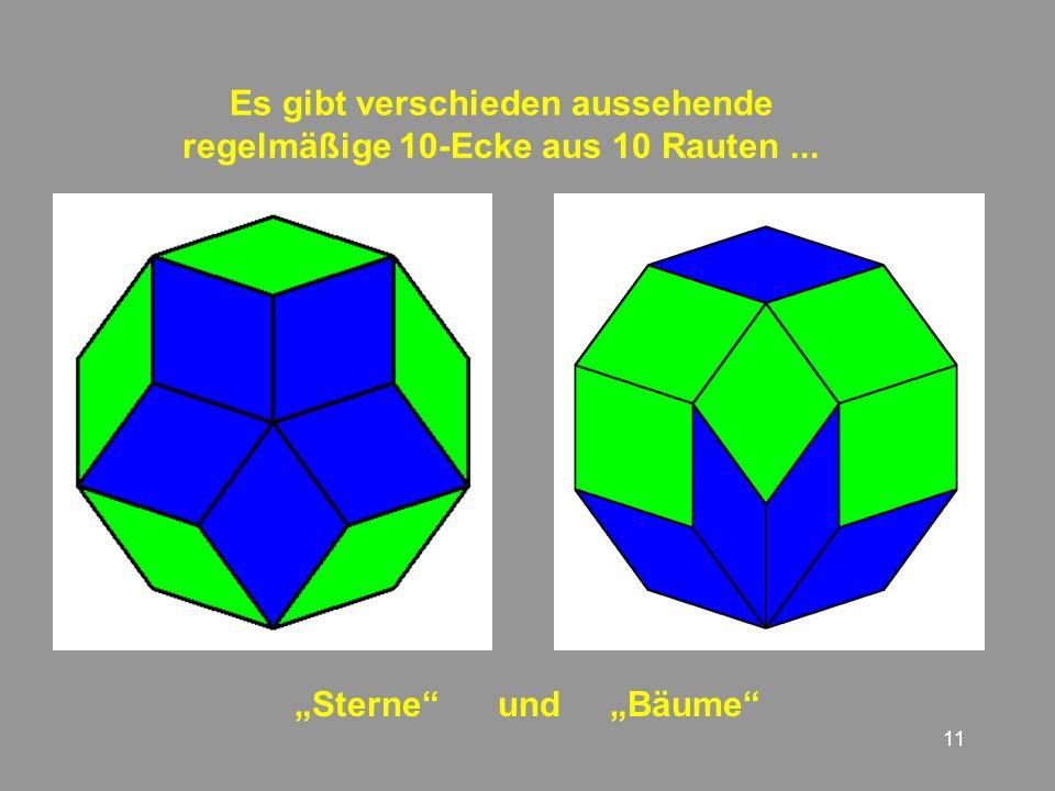 11 Es gibt verschieden aussehende regelmäßige 10-Ecke aus 10 Rauten... Sterne und Bäume