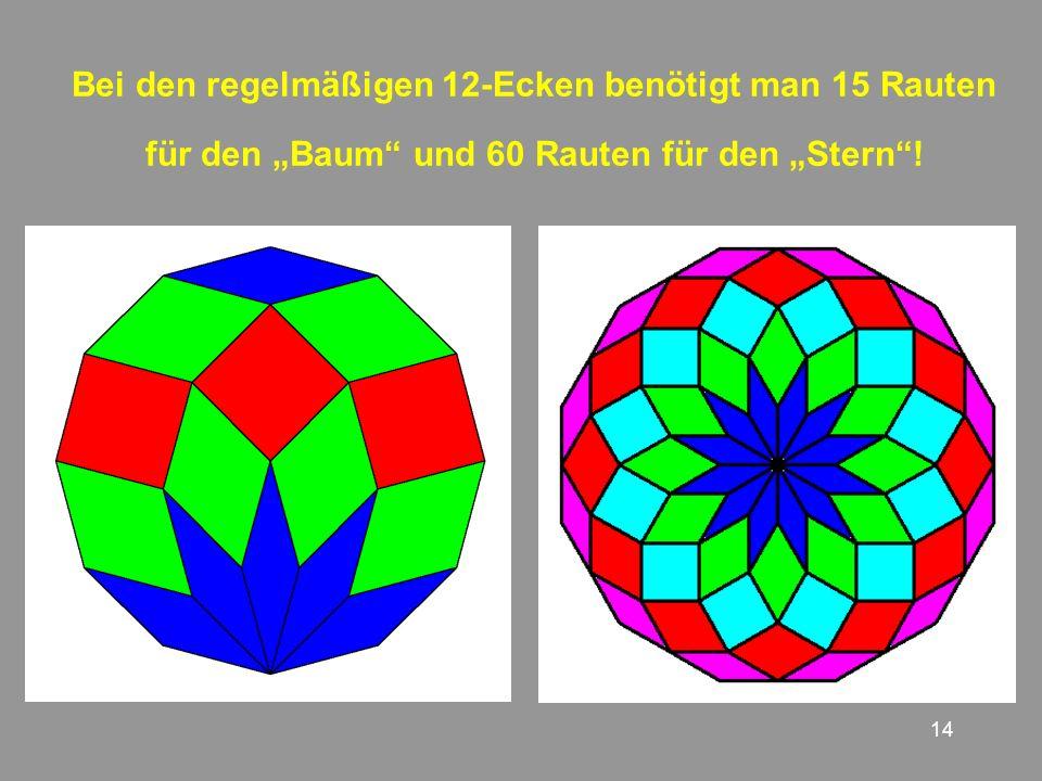 14 Bei den regelmäßigen 12-Ecken benötigt man 15 Rauten für den Baum und 60 Rauten für den Stern!