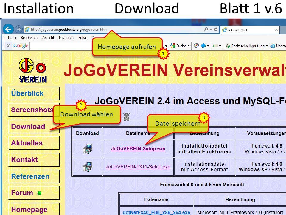 Installation Download Blatt 1 v.6 Datei speichern Download wählen Homepage aufrufen 1 2 3
