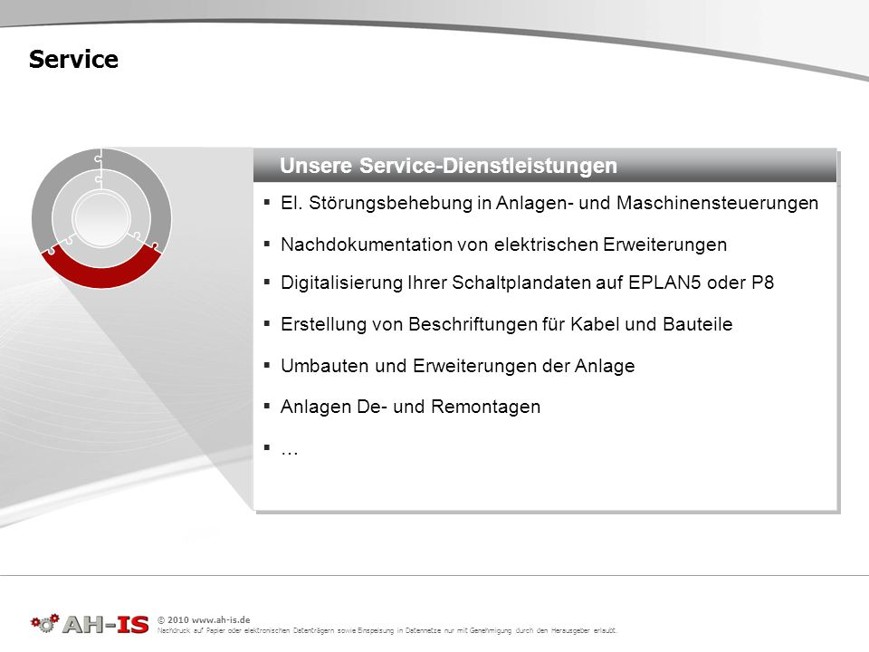 Unsere Service-Dienstleistungen El. Störungsbehebung in Anlagen- und Maschinensteuerungen Nachdokumentation von elektrischen Erweiterungen Digitalisie