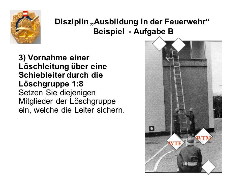 Disziplin Ausbildung in der Feuerwehr Beispiel - Aufgabe B 3) Vornahme einer Löschleitung über eine Schiebleiter durch die Löschgruppe 1:8 Setzen Sie