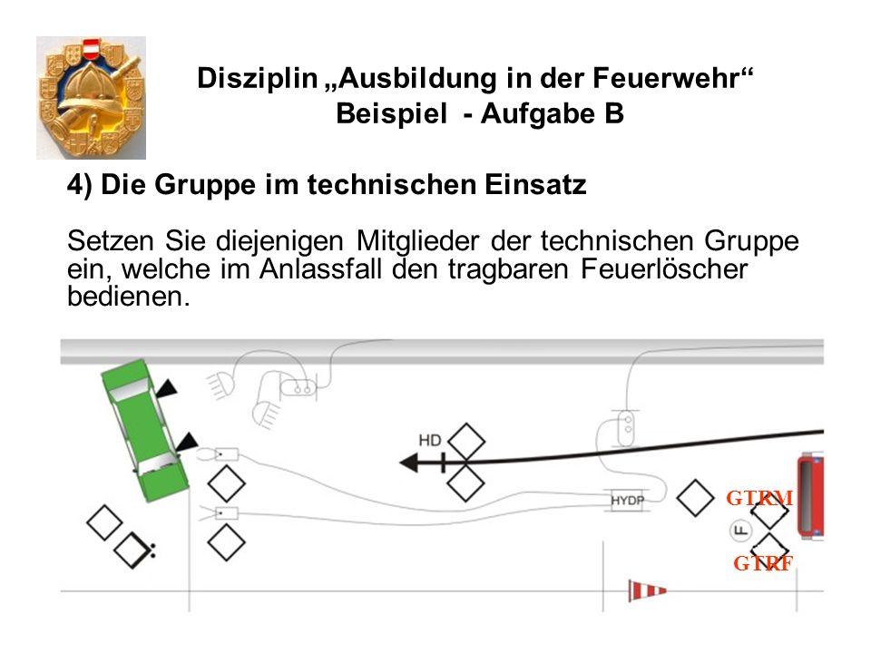 Disziplin Ausbildung in der Feuerwehr Beispiel - Aufgabe B 4) Die Gruppe im technischen Einsatz Setzen Sie diejenigen Mitglieder der technischen Grupp