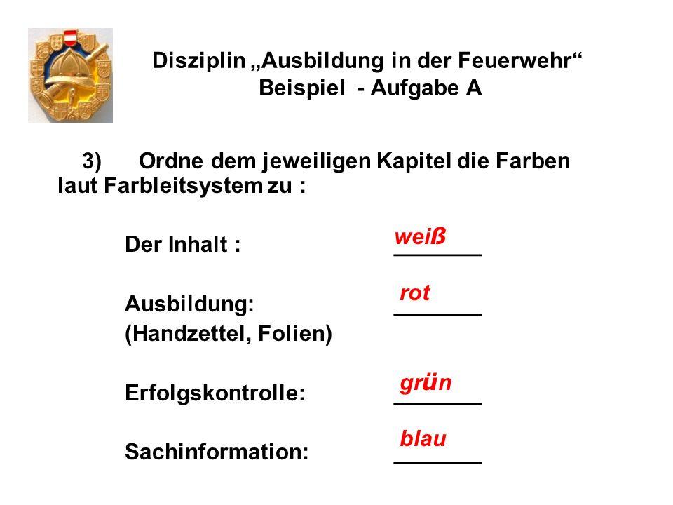 Disziplin Ausbildung in der Feuerwehr Beispiel - Aufgabe A 3) Ordne dem jeweiligen Kapitel die Farben laut Farbleitsystem zu : Der Inhalt :_______ Aus