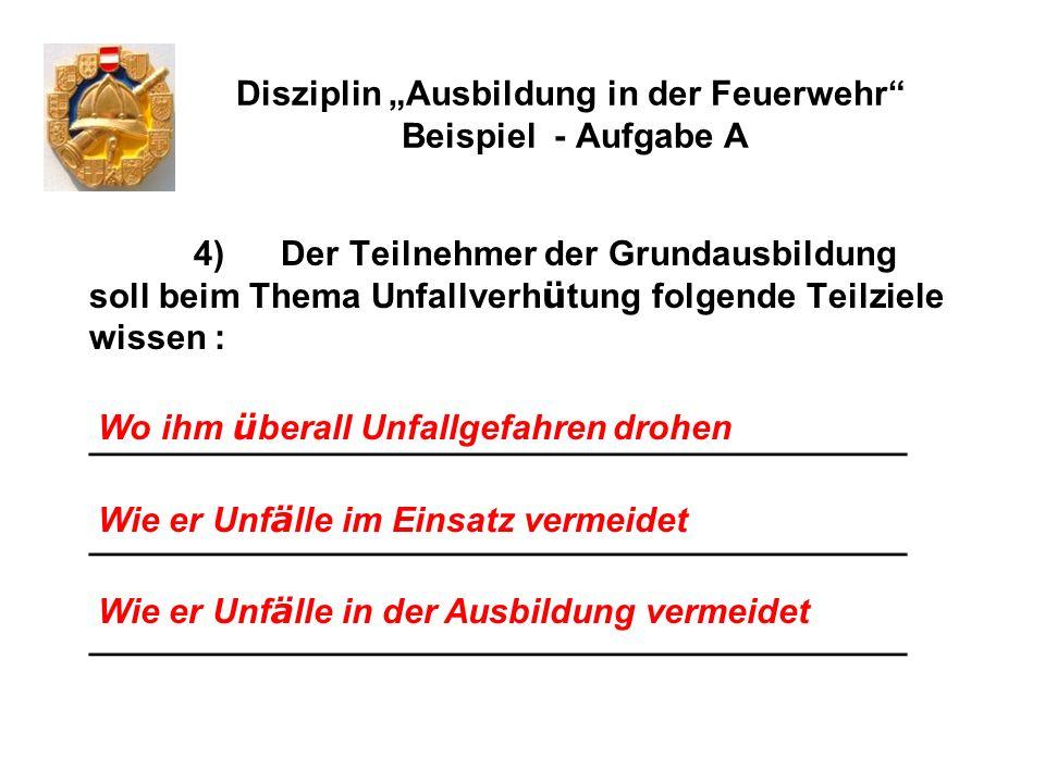 Disziplin Ausbildung in der Feuerwehr Beispiel - Aufgabe A 5) Pro Jahr ereignen sich in Ö sterreich rd.