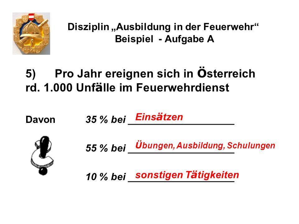 Disziplin Ausbildung in der Feuerwehr Beispiel - Aufgabe A 5) Pro Jahr ereignen sich in Ö sterreich rd. 1.000 Unf ä lle im Feuerwehrdienst Davon 35 %