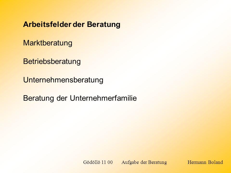 Arbeitsfelder der Beratung Marktberatung Betriebsberatung Unternehmensberatung Beratung der Unternehmerfamilie Gödöllö 11 00 Aufgabe der Beratung Herm
