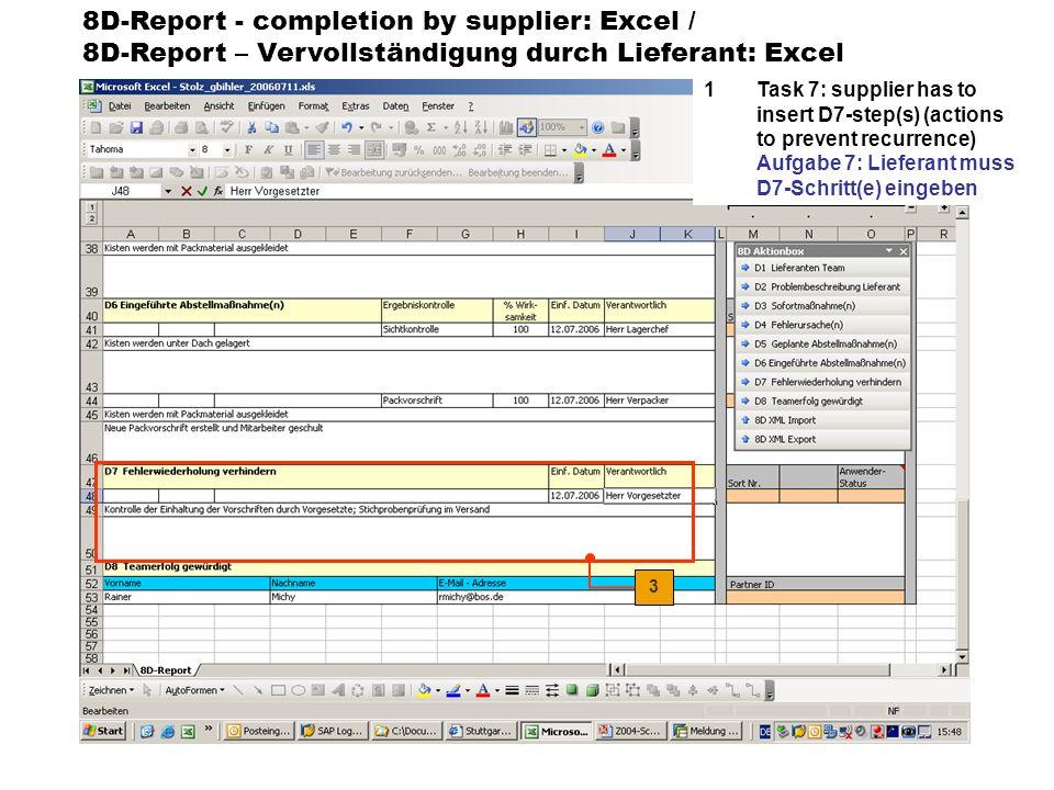 8D-Report - sending by supplier: Excel / 8D-Report – Versendung durch Lieferant: Excel