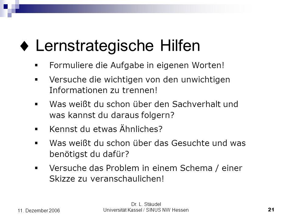 Dr.L. Stäudel Universität Kassel / SINUS NW Hessen 21 11.
